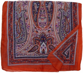 silk paisley deep orange
