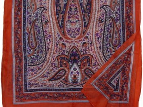 silk paisley deep orange