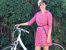 block print shirt dress