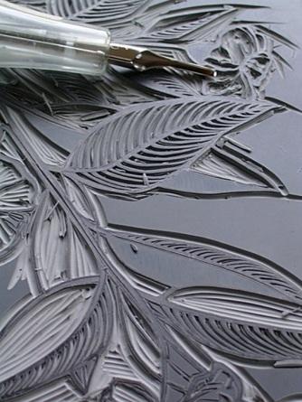 carving linoleum
