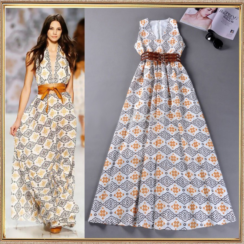 New-arrival-2014-spring-and-summer-maxi-dress-sexy-deep-V-neck-vintage-color-block-print